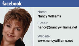 Connect with Nancy on Facebook